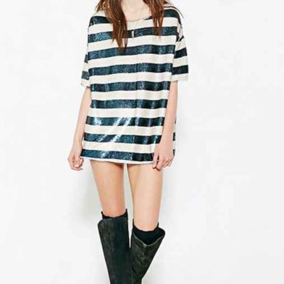 ca4cd2df47c Urban Outfitters Tops | New Silence Noise Striped Sequin Tunic Top ...
